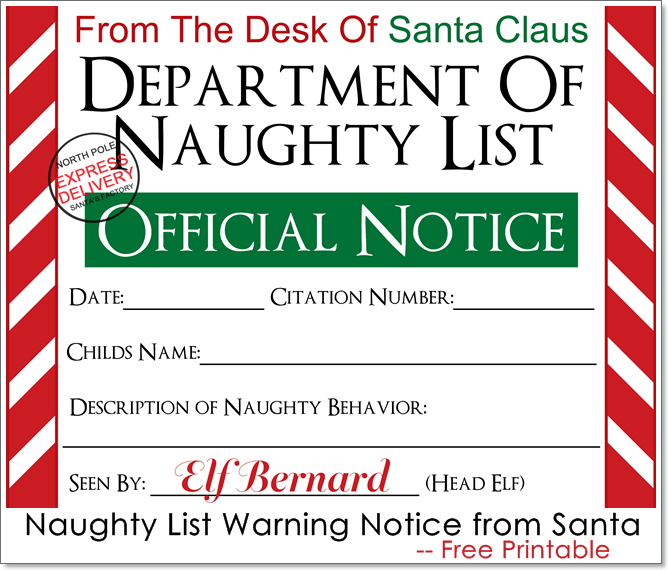 image relating to Santa List Printable identified as Naughty Checklist Caution Attention against Santa Absolutely free Printable