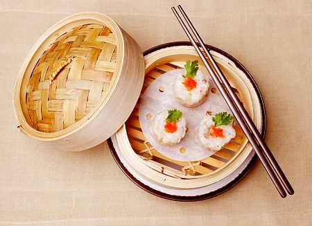 Shrimp Dumpling in bamboo plate:
