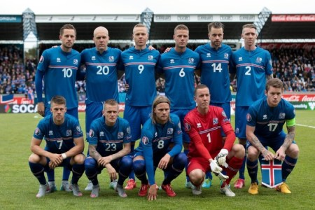 Iceland National football team posing for a photograph