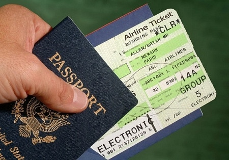 A refundable airplane ticket in a passport