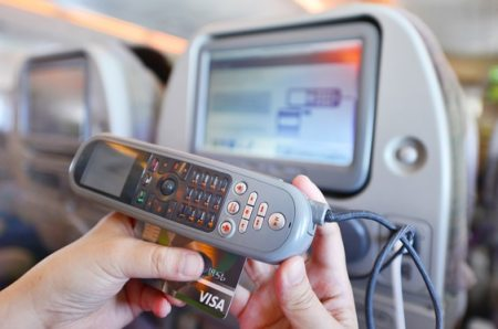 Swipe card for in-flight wifi - Emirates A380