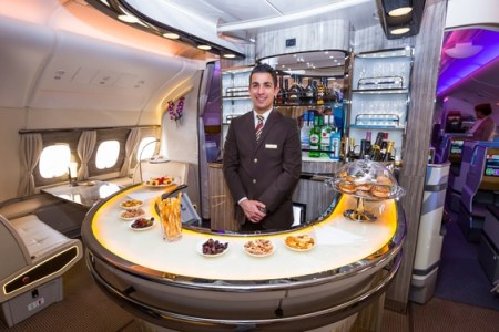 Emirates A380's onboard lounge