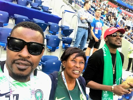 Wole with Tuface Idibia in a Moscow Stadium