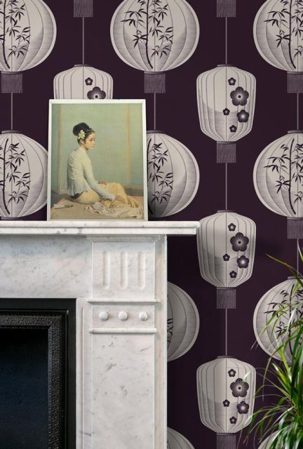 Lucky Lantern – Winter Plum wallpaper by Mini Moderns at wallpaperdirect