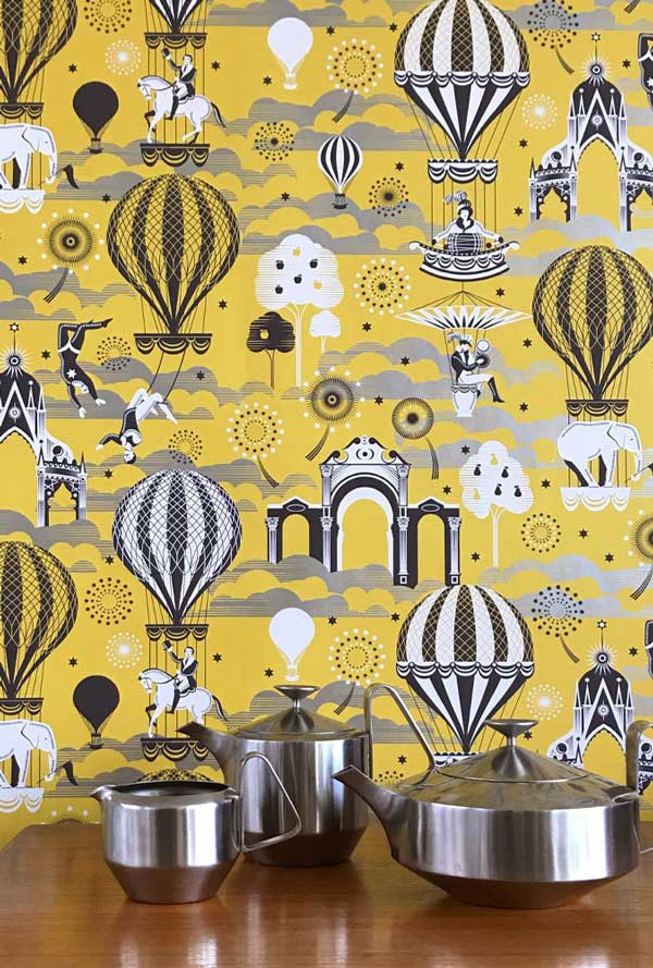 Mini Moderns Pleasure Gardens wallpaper – Mustard and Silver at wallpaperdirect