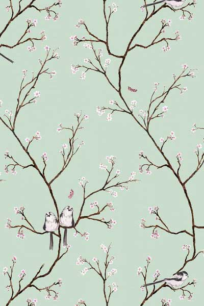 Eau de nil color way Spring blossom by Petronella Hall