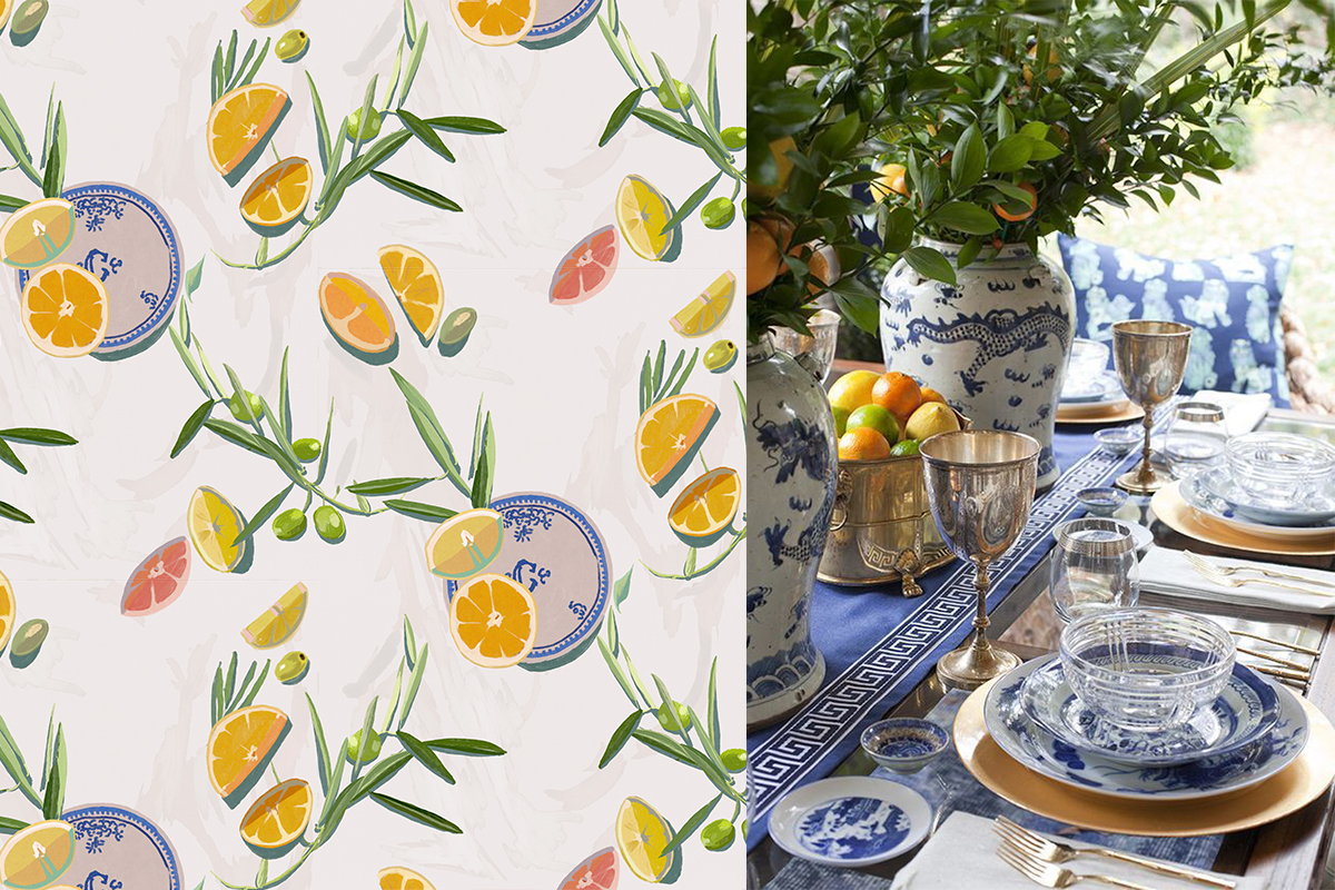 Fruit wallpaper design: sun-drenched slices of colour