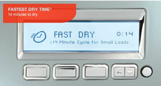 Electrolux dryer showing fast dry time - 14 minutes