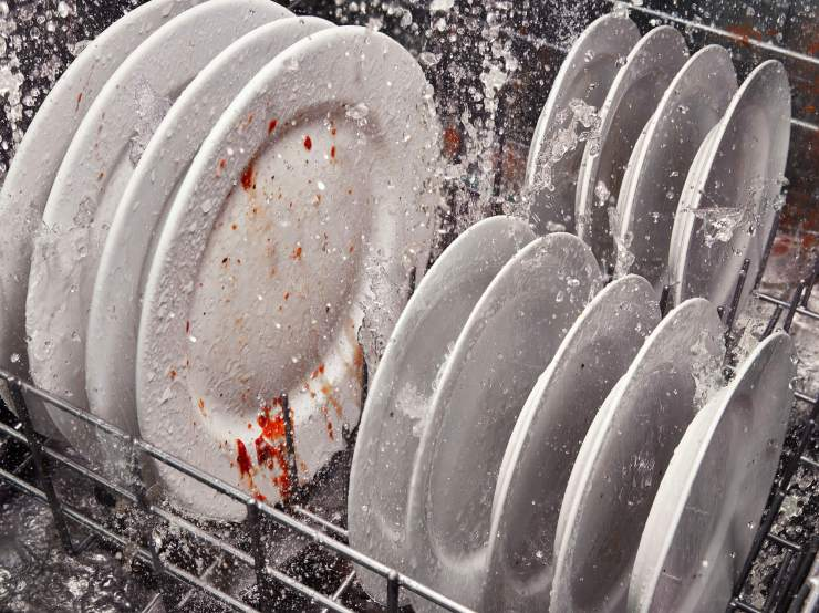 dirty dishes in Whirlpool dishwasher