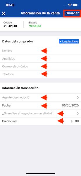 Cambiar la disponibilidad del inmueble agregando la información de la venta