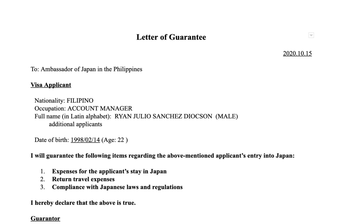 letter-of-guarantee-japan-visa