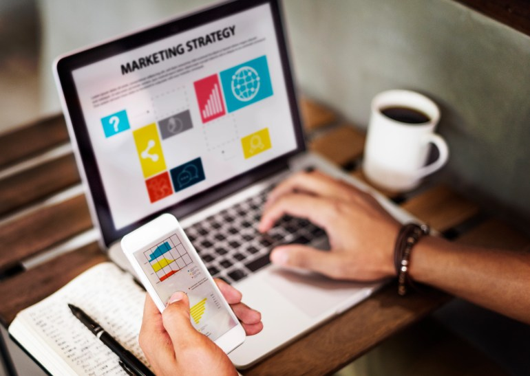 marketing strategy connting digital devices concept,Small Online Business