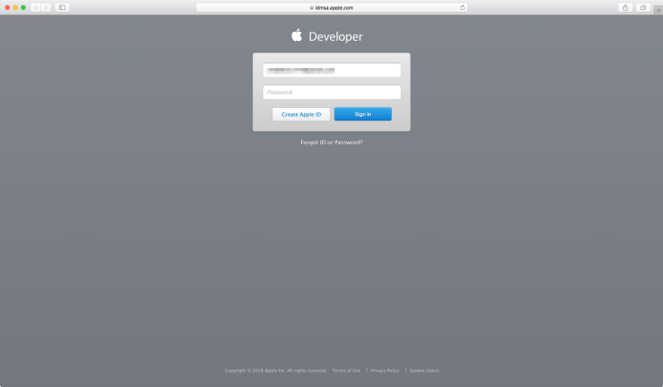 Renew Apple Developer membership - Login