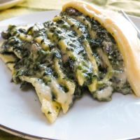 Savory Spinach-Filled Crepe Cake w/Cheddar Sauce #SundaySupper
