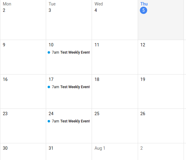 iCal format for different frequency of events