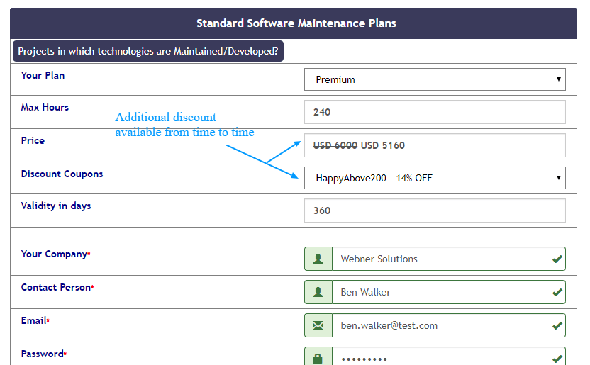 Standard software maintenance plan