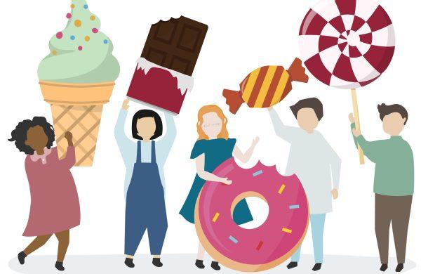 people holding sweet treats - icecream chocolate donut toffee lollipop