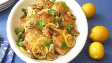 KitchenWise: Serve baked chicken thighs with lemon pickles