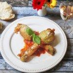 Serve Stuffed Fried Zucchini Blossoms with marina sauce