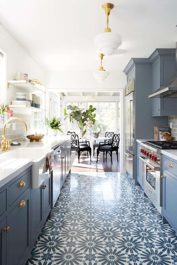 blue-kitchen-bamboo-chairs-painted-cabinets