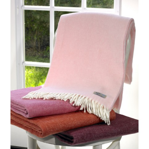 Cherry Pink Italian Herringbone Throw