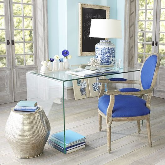 Ordinaire Blue White Home Office Chair Lucite Desk Well