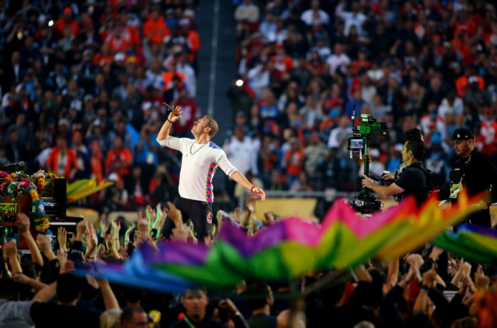 SANTA CLARA, CA - FEBRUARY 07: Chris Martin of Coldplay performs during the Pepsi Super Bowl 50 Halftime Show at Levi's Stadium on February 7, 2016 in Santa Clara, California. (Photo by Maddie Meyer/Getty Images)