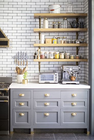 gray cabinets kitchen brass