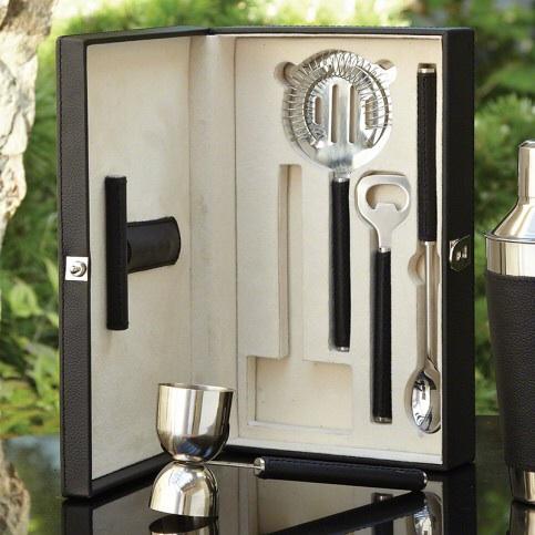 Black leather bar tool set