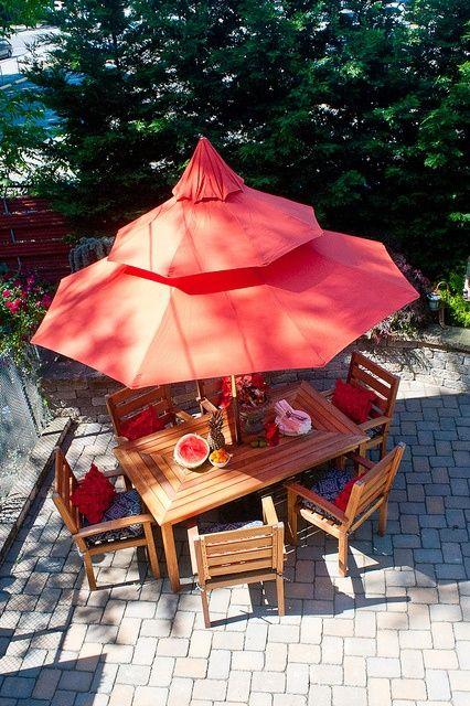 orange umbrella patio