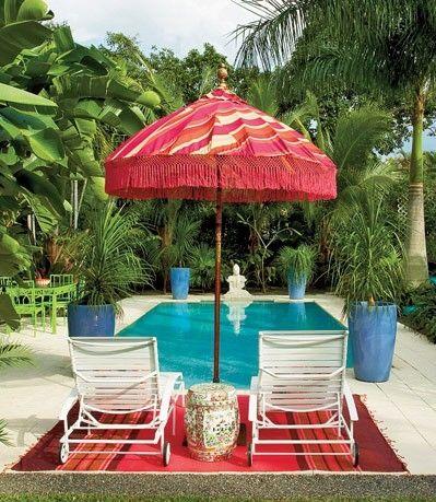 red patio umbrella