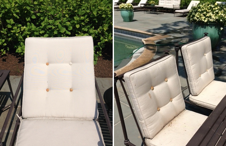 Fabulous  The cushions don ut drain water Ouch So it rains and three days later you have guests e to swim and relax by the pool and they get soaked Why