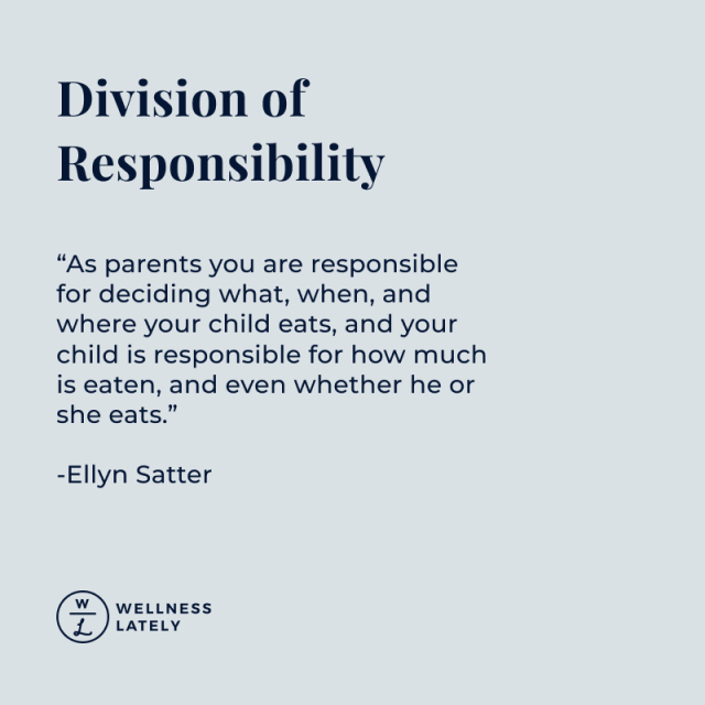 Division of Responsibility. A feeding structure developed by Ellyn Satter.