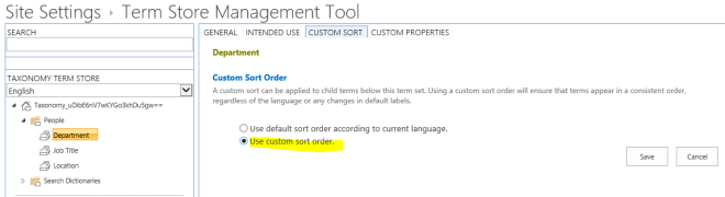 Custom Sort in the Term Store management UI.