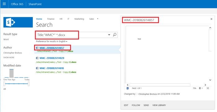 Business Management O365 SharePoint Search Results with Title.
