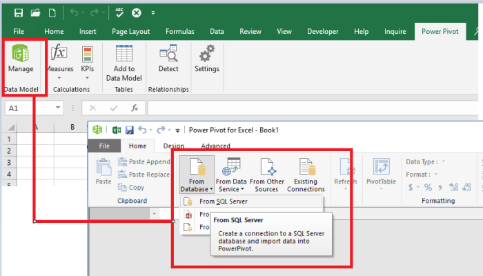 Excel Power Pivot connect to SQL.