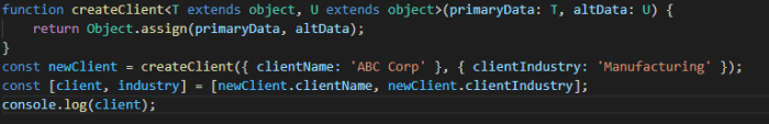 TypeScript constrained function and destructure.