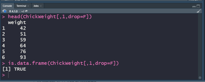 R data frame subset with brackets using drop.