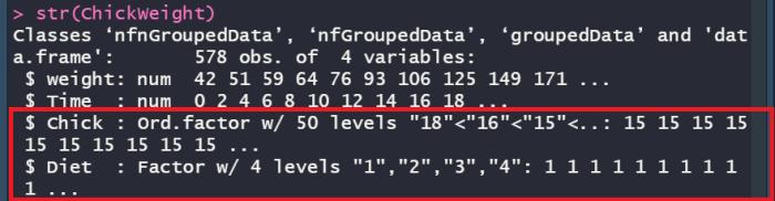 R factorized column example.