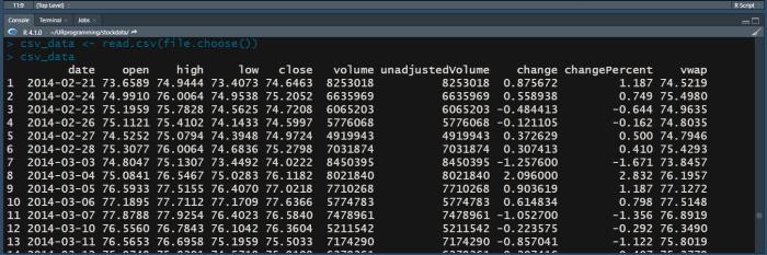 R Programming file read using file picker.