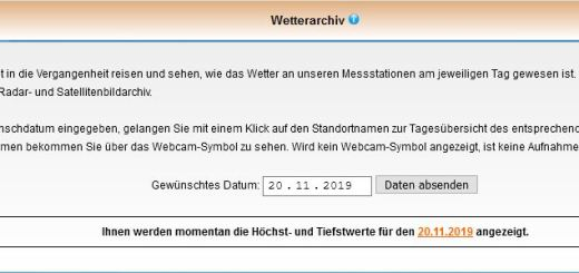 Screenshot vom Wetterarchiv