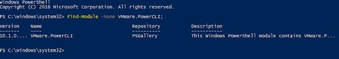 Find-Module VMware.PowerCLI