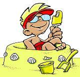 Illustration kleiner Junge in Sandburg