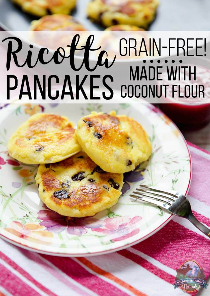 Grain-Free Ricotta Pancakes Made With Coconut Flour | Ricotta pancakes are reminiscent of Russian farmers cheese -- syrniki -- a beloved staple of kids and adults alike. High in fiber, gluten-free, & tasty, these grain-free pancakes with ricotta cheese are an easy recipe for a coconut flour newbie! | WildernessFamilyNaturals.com