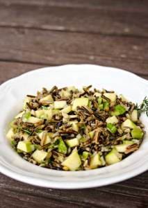 Wild Rice Apple Salad   A fall salad is a very different meal than its spring and summer cousins.This salad, made with filling wild rice and juice apples, is a chilled dish --a hearty but cold meal or side dish for the warm days of early Autumn.   WildernessFamilyNaturals.com