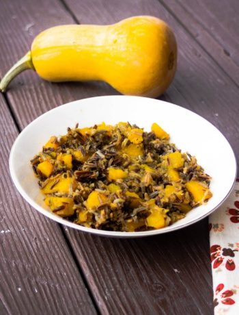 Make-Ahead Wild Rice & Winter Squash Casserole | Fall gatherings are a great time to use winter squash -- and luckily, winter squash and nutty wild rice are a yummy match! This make-ahead holiday side dish is quite literally tossed together in 1 pan, with minimal prep work, and bakes up with no fuss. | WildernessFamilyNaturals.com