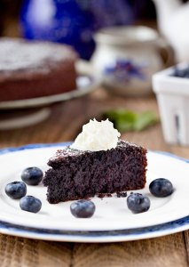 Gluten-Free Blueberry Almond Cake {with freeze-dried blueberry powder} | This moist gluten-free is a real eye-catcher! Perfect for anyone who's favorite color is purple or if you're just looking for a fun way to eat more blueberries. Freeze-dried blueberry powder makes it possible! | WildernessFamilyNaturals.com