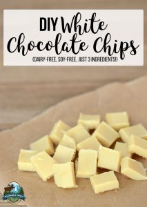 DIY White Chocolate Chips {dairy-free, soy-free, just 3 ingredients!}