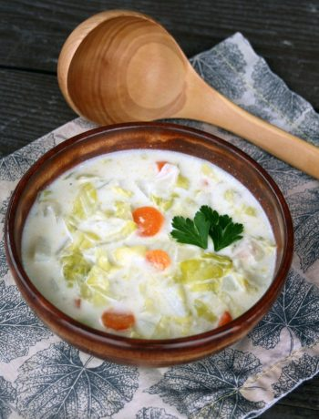 Dairy-Free Cream Of Cabbage Soup {frugal & nutritious!} | There are few fresh vegetables as frugal as cabbage and potatoes. It's gluten-free, grain-free, and suitable for vegetarians and vegans, too! This hearty, yet frugal, dairy-free cream of cabbage soup is an easy recipe for creamy comfort food that nourishes the body without breaking the bank! | WildernessFamilyNaturals.com