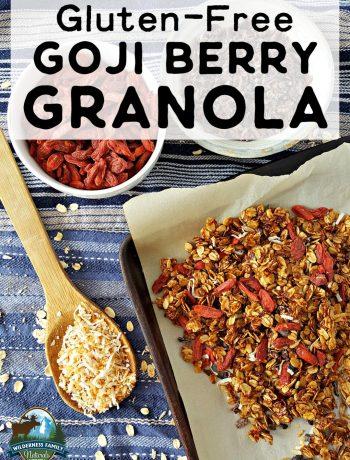Photo of a sheet pan with goji berri granola and a bowl of goji berries.